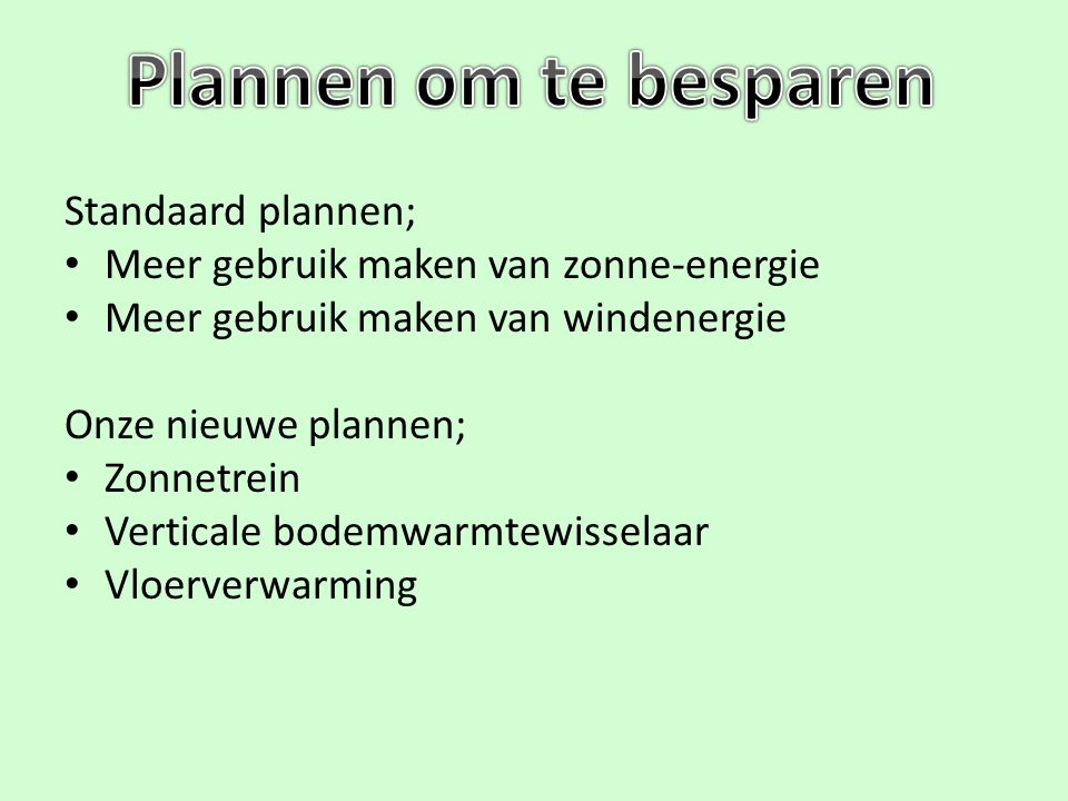 Plannen om te besparen Standaard plannen;