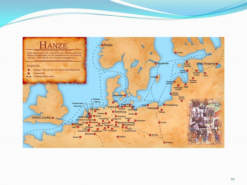 Hanzeverbond. Circa 1150 opgericht in Lübeck