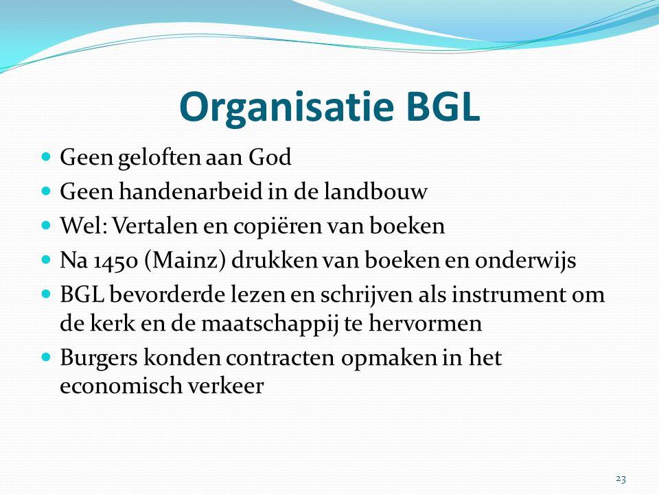 Organisatie BGL Geen geloften aan God Geen handenarbeid in de landbouw