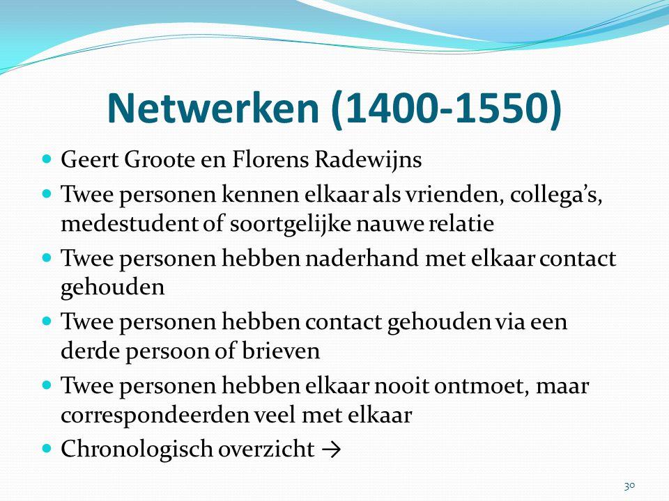 Netwerken (1400-1550) Geert Groote en Florens Radewijns