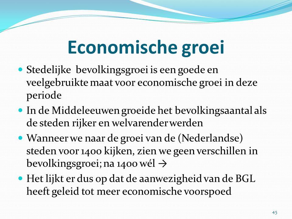 Economische groei Stedelijke bevolkingsgroei is een goede en veelgebruikte maat voor economische groei in deze periode.