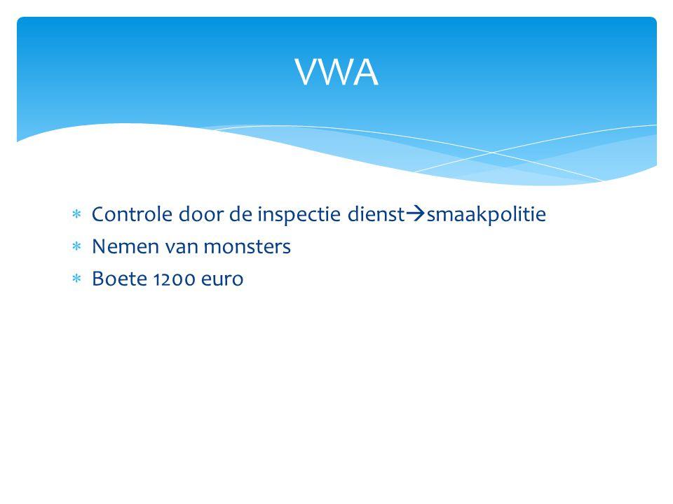 VWA Controle door de inspectie dienstsmaakpolitie Nemen van monsters