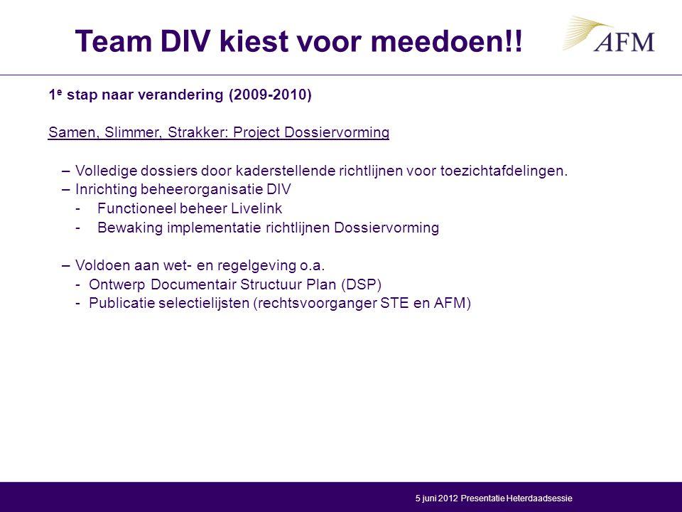 Team DIV kiest voor meedoen!!