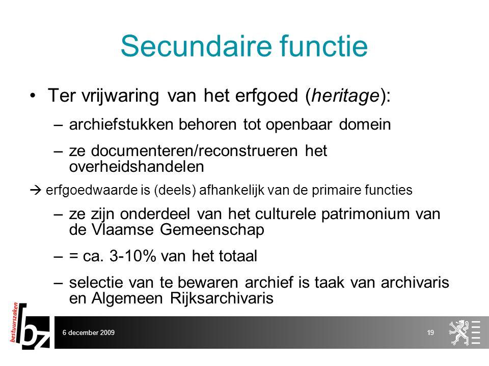 Secundaire functie Ter vrijwaring van het erfgoed (heritage):