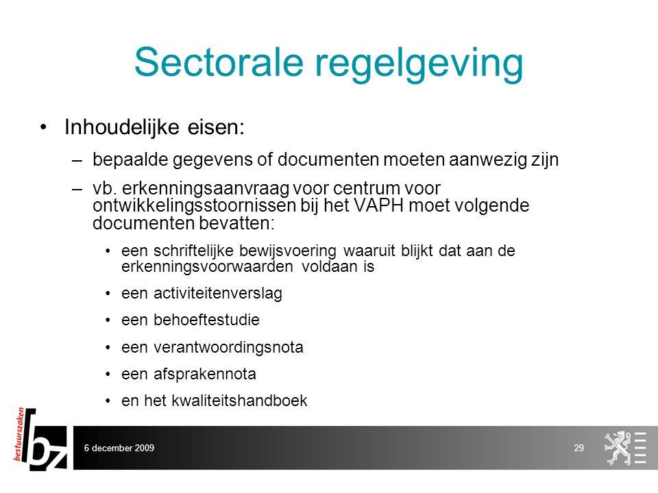 Sectorale regelgeving
