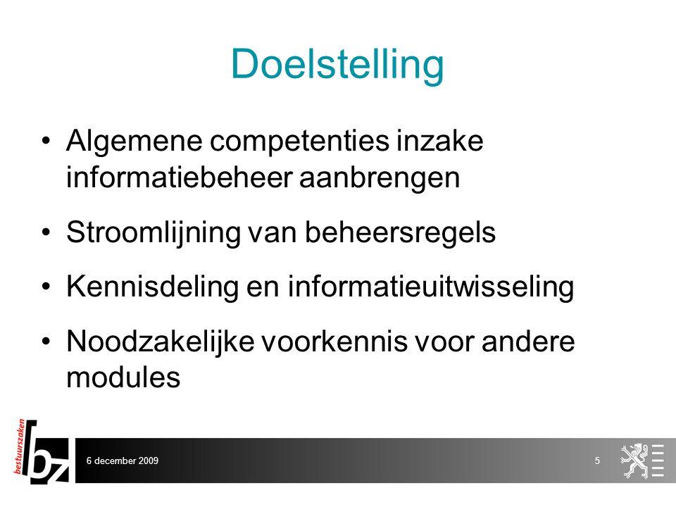 Doelstelling Algemene competenties inzake informatiebeheer aanbrengen