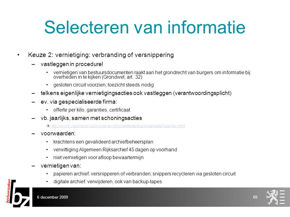 Selecteren van informatie