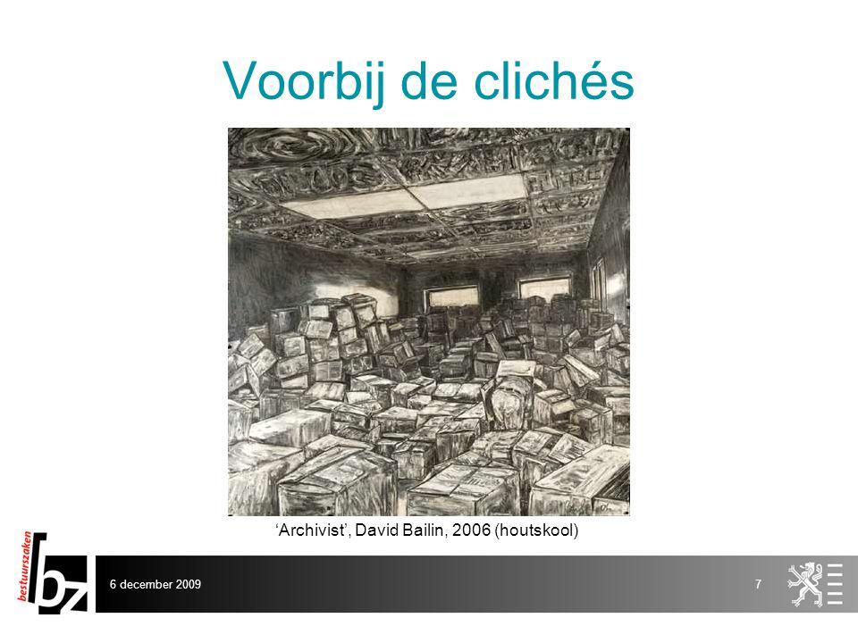 Voorbij de clichés 'Archivist', David Bailin, 2006 (houtskool)