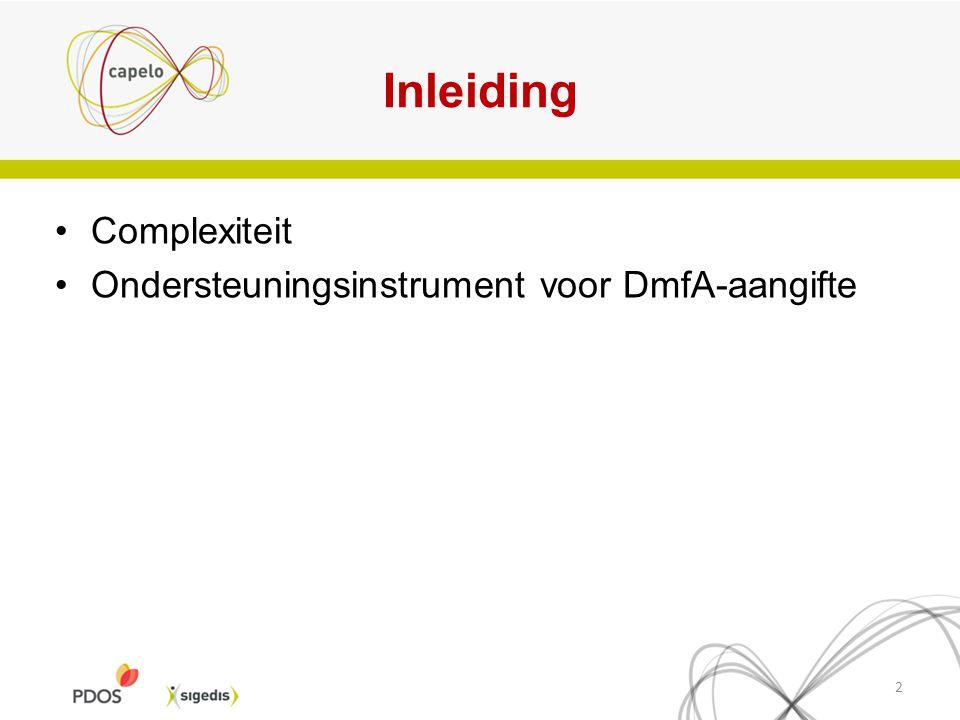 Inleiding Complexiteit Ondersteuningsinstrument voor DmfA-aangifte