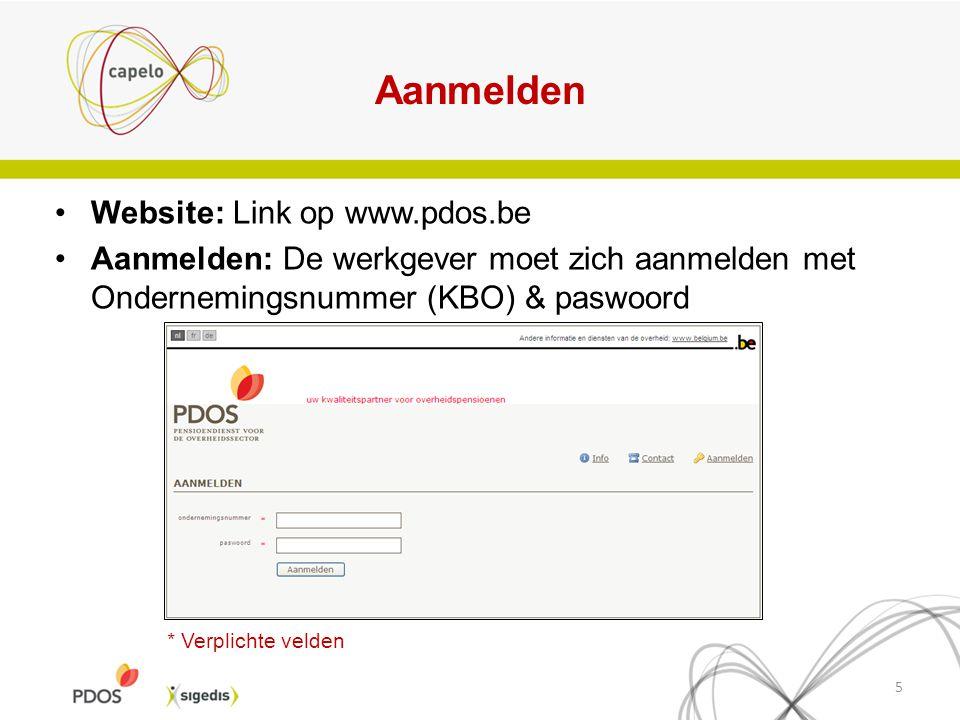 Aanmelden Website: Link op www.pdos.be