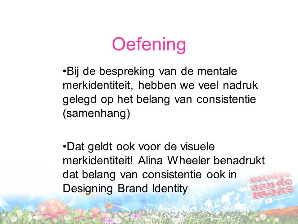Oefening Bij de bespreking van de mentale merkidentiteit, hebben we veel nadruk gelegd op het belang van consistentie (samenhang)