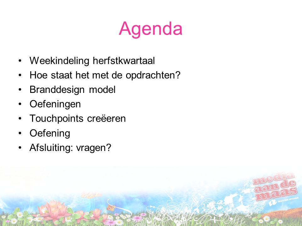 Agenda Weekindeling herfstkwartaal Hoe staat het met de opdrachten