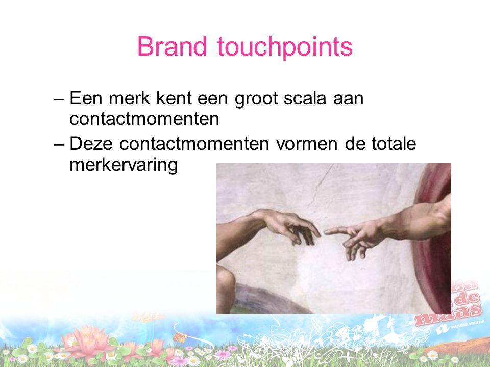 Brand touchpoints Een merk kent een groot scala aan contactmomenten