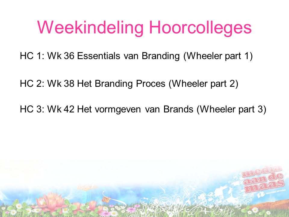 Weekindeling Hoorcolleges