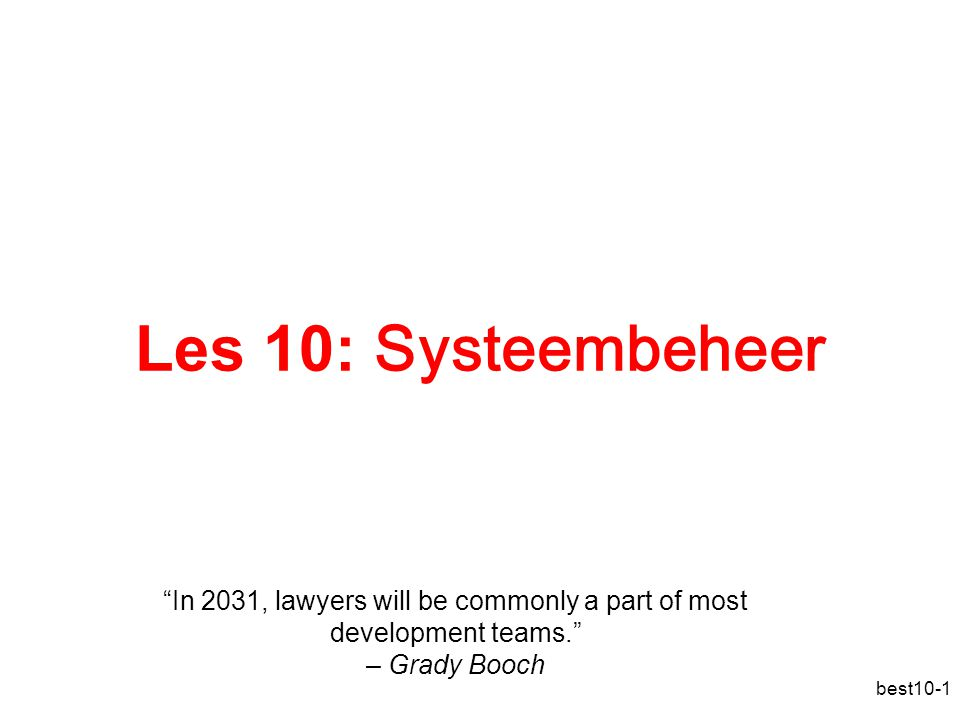 Les 10: Systeembeheer
