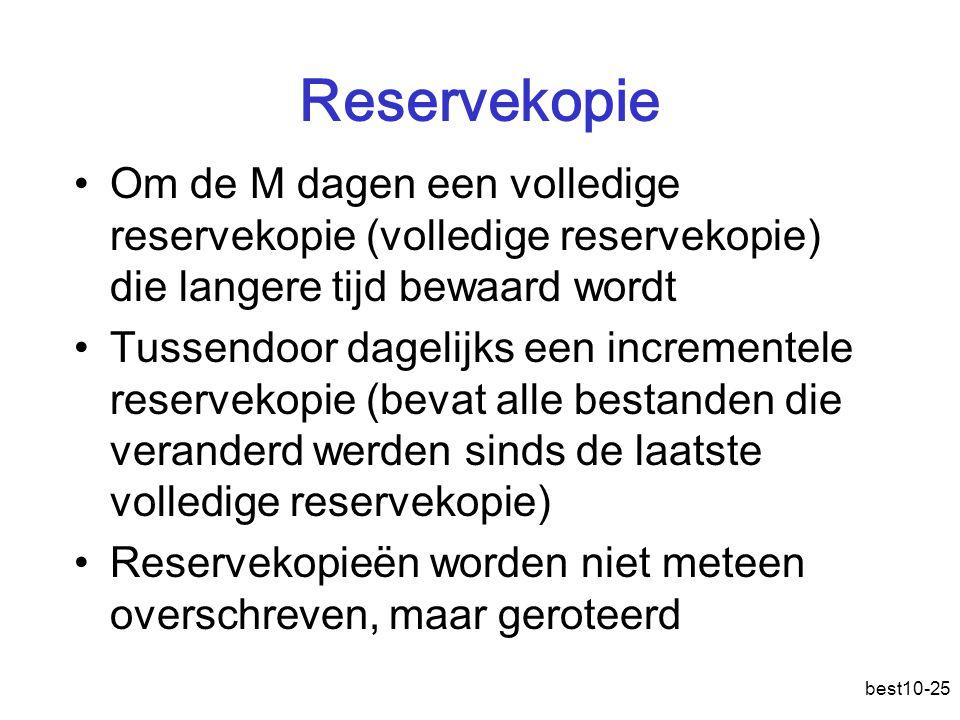 Reservekopie Om de M dagen een volledige reservekopie (volledige reservekopie) die langere tijd bewaard wordt.
