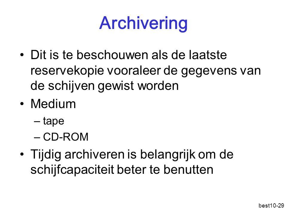 Archivering Dit is te beschouwen als de laatste reservekopie vooraleer de gegevens van de schijven gewist worden.