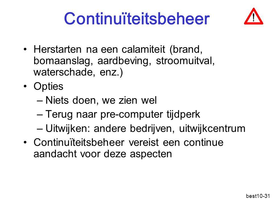 Continuïteitsbeheer Herstarten na een calamiteit (brand, bomaanslag, aardbeving, stroomuitval, waterschade, enz.)
