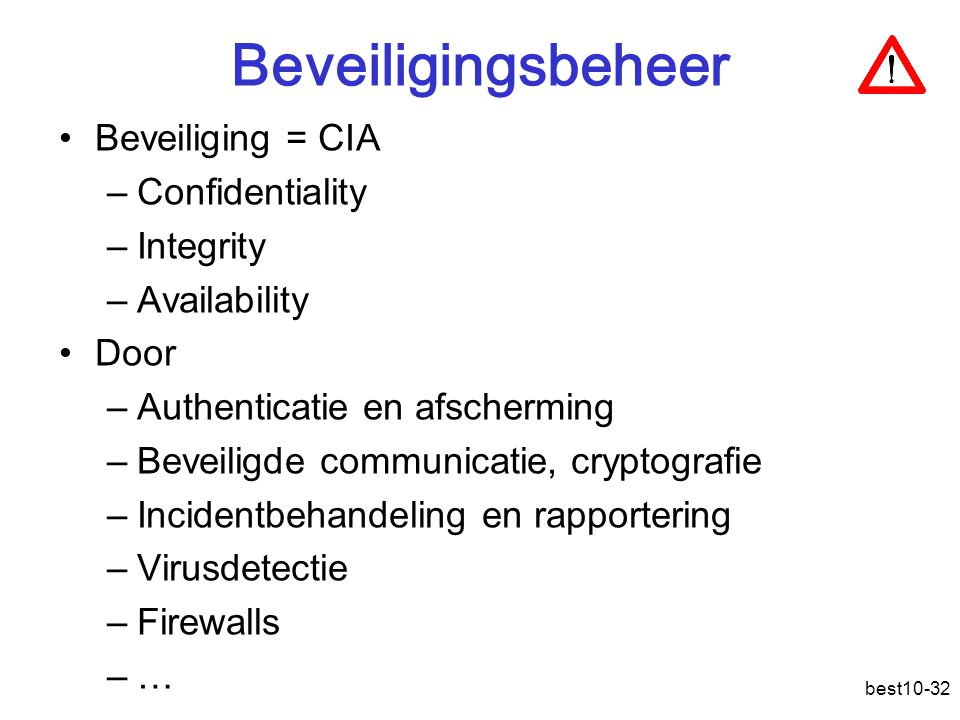 Beveiligingsbeheer Beveiliging = CIA Confidentiality Integrity