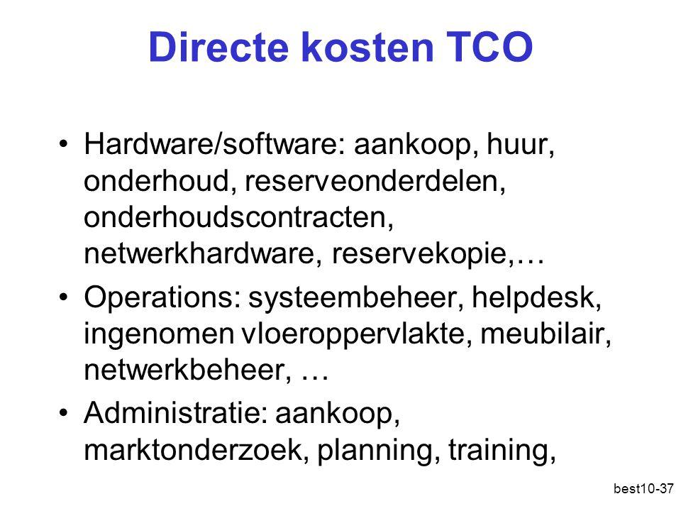 Directe kosten TCO Hardware/software: aankoop, huur, onderhoud, reserveonderdelen, onderhoudscontracten, netwerkhardware, reservekopie,…