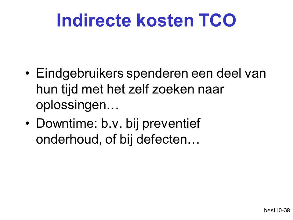 Indirecte kosten TCO Eindgebruikers spenderen een deel van hun tijd met het zelf zoeken naar oplossingen…