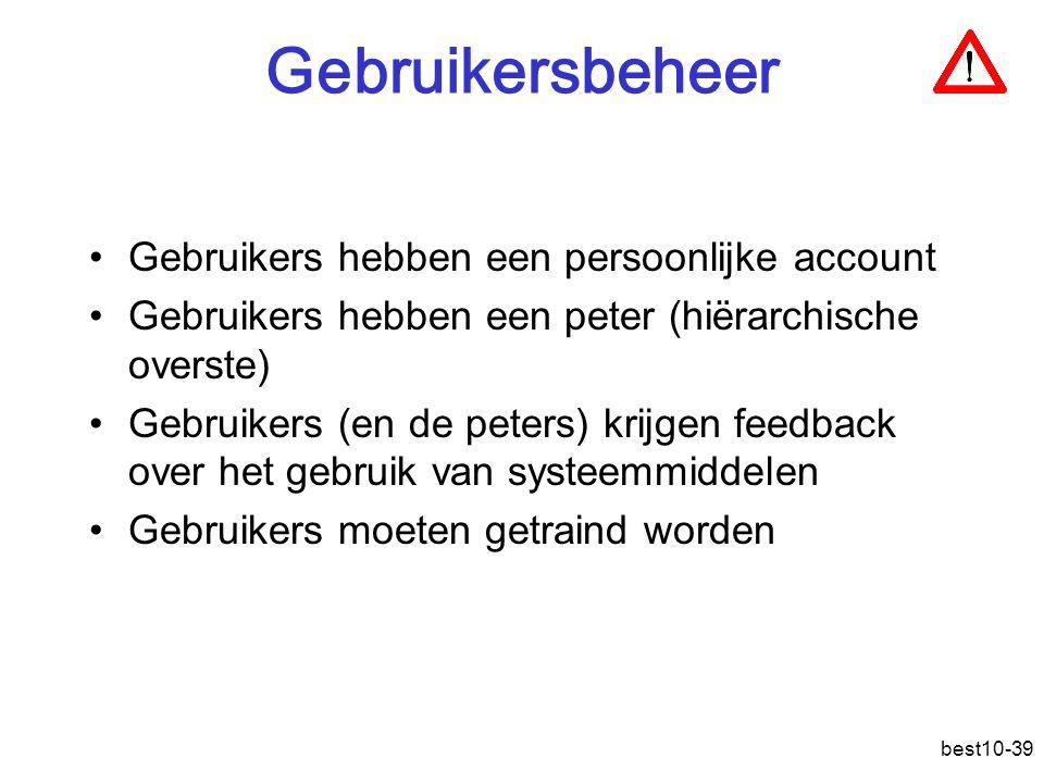 Gebruikersbeheer Gebruikers hebben een persoonlijke account