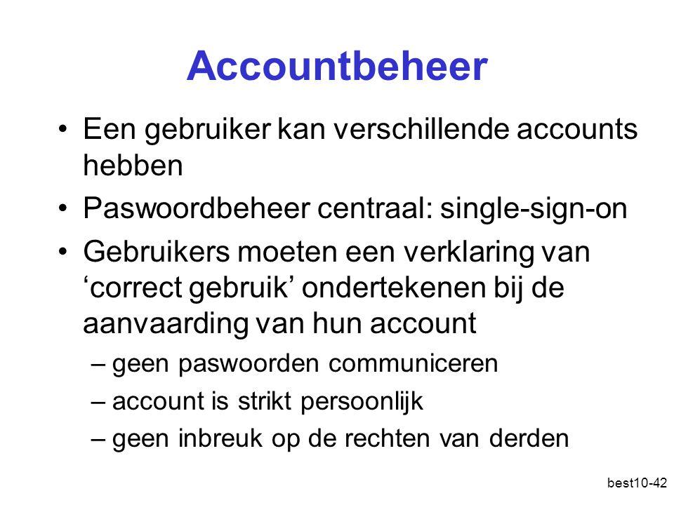Accountbeheer Een gebruiker kan verschillende accounts hebben