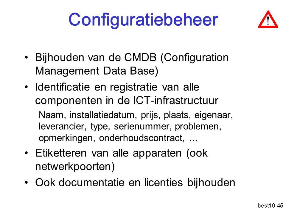 Configuratiebeheer Bijhouden van de CMDB (Configuration Management Data Base)
