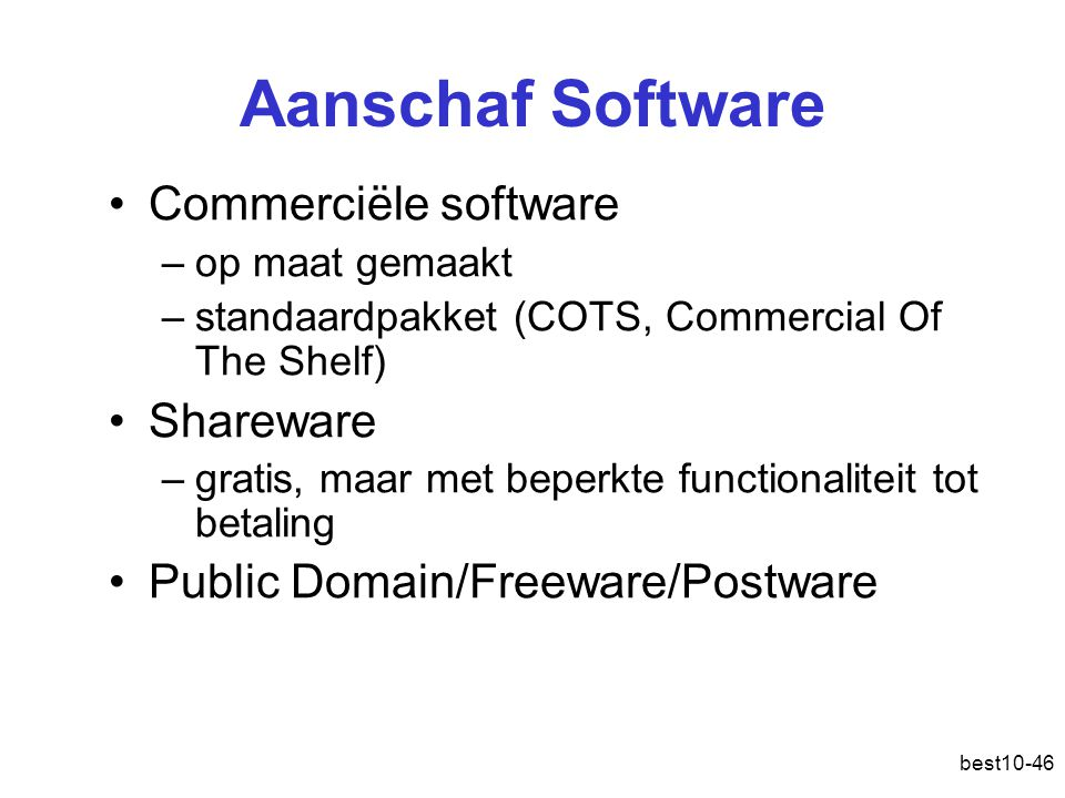 Aanschaf Software Commerciële software Shareware