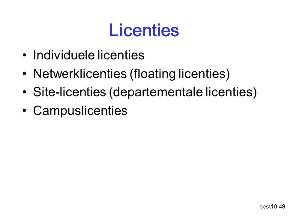 Licenties Individuele licenties Netwerklicenties (floating licenties)