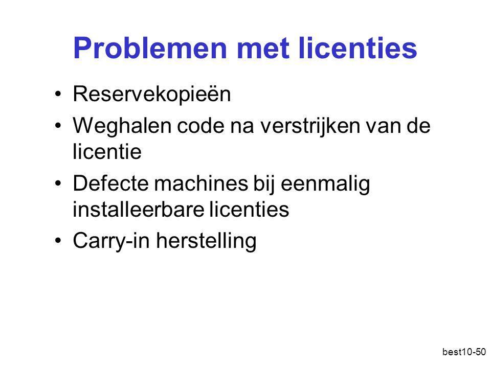 Problemen met licenties