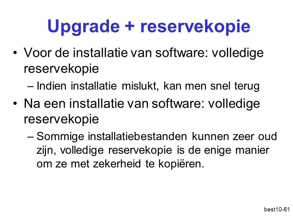 Upgrade + reservekopie