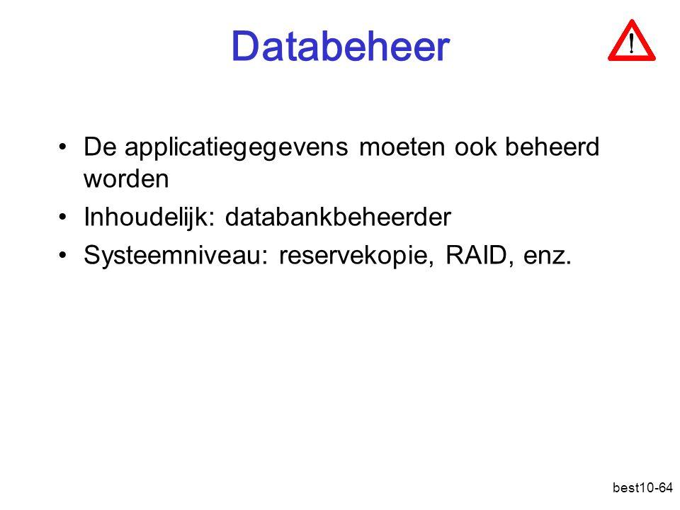 Databeheer De applicatiegegevens moeten ook beheerd worden