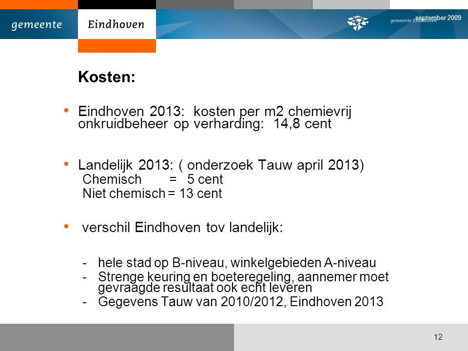 september 2009 Kosten: Eindhoven 2013: kosten per m2 chemievrij onkruidbeheer op verharding: 14,8 cent.