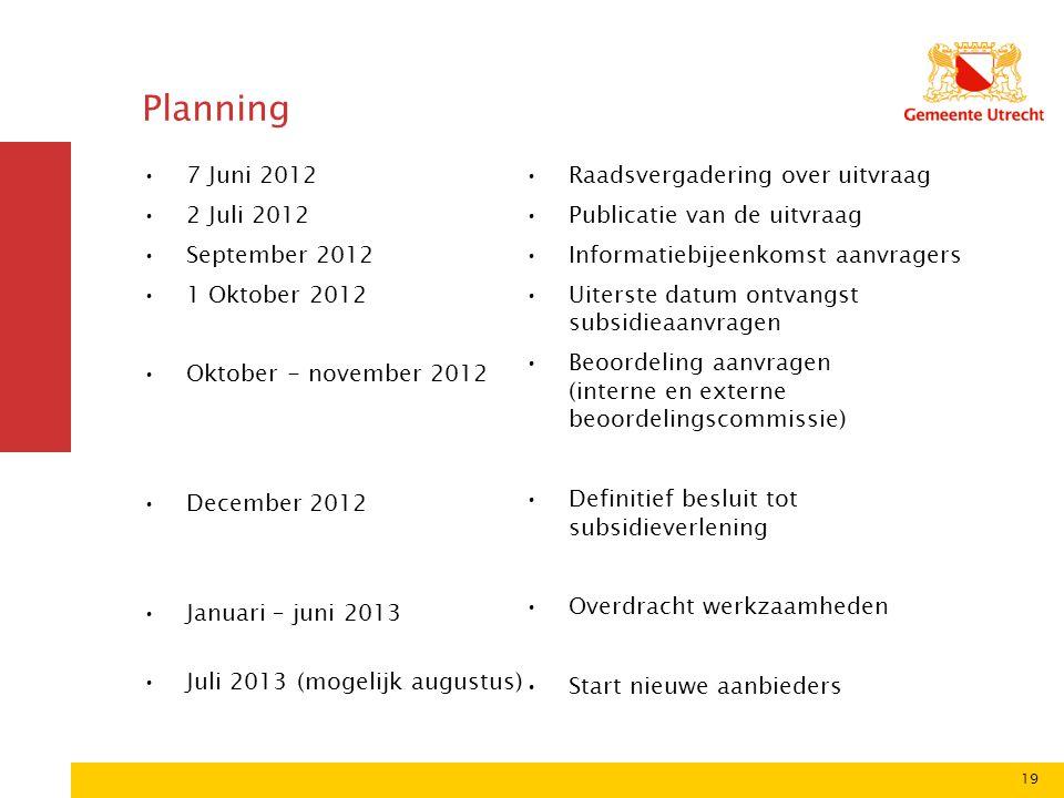 Planning 7 Juni 2012 2 Juli 2012 September 2012 1 Oktober 2012
