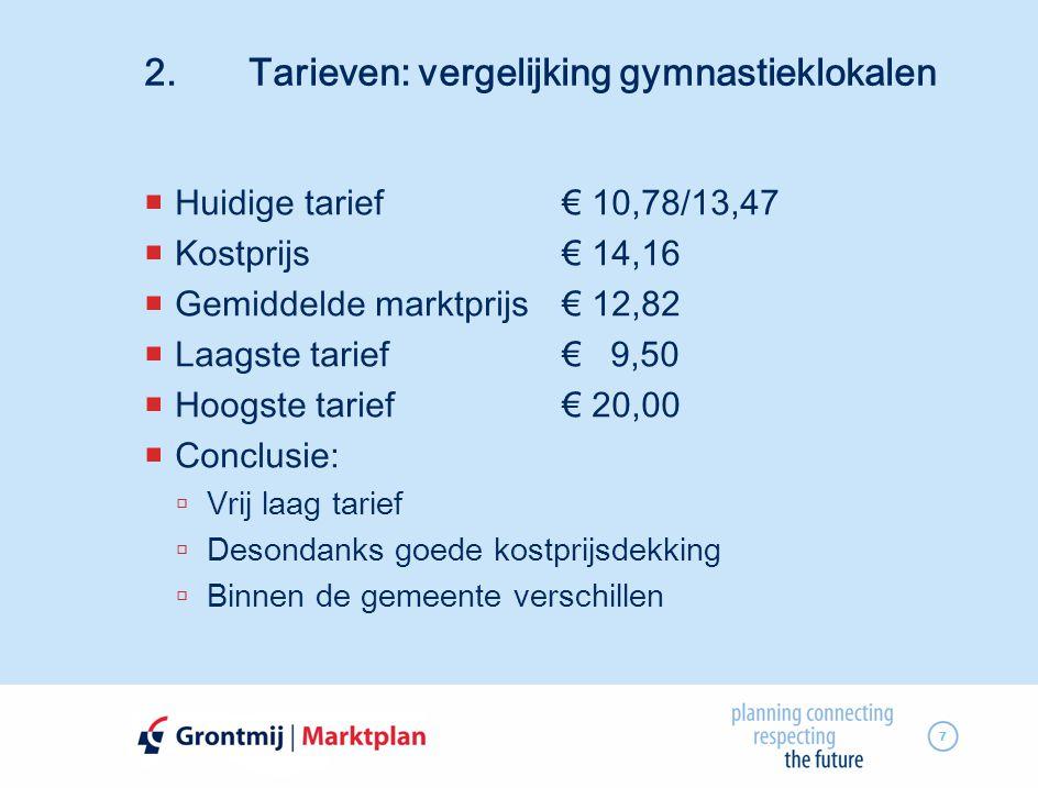 2. Tarieven: vergelijking gymnastieklokalen