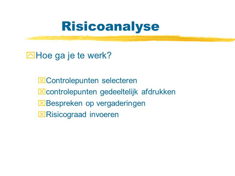 Risicoanalyse Hoe ga je te werk Controlepunten selecteren