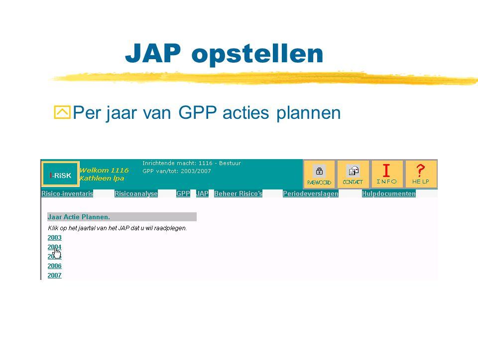 JAP opstellen Per jaar van GPP acties plannen