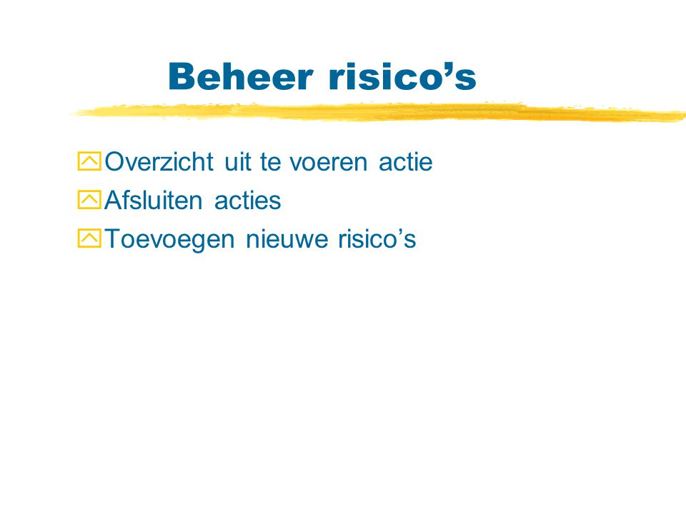 Beheer risico's Overzicht uit te voeren actie Afsluiten acties