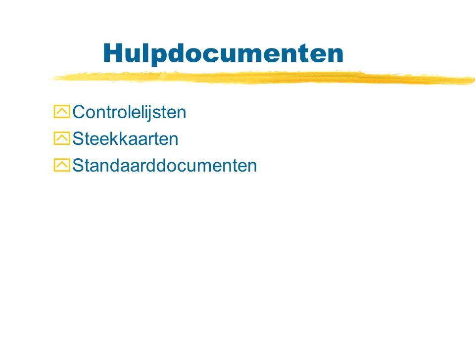Hulpdocumenten Controlelijsten Steekkaarten Standaarddocumenten