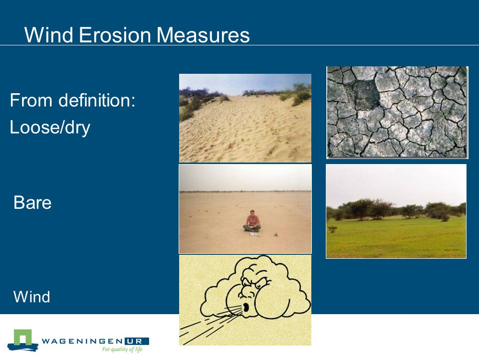 Wind Erosion Measures From definition: Loose/dry Bare Wind