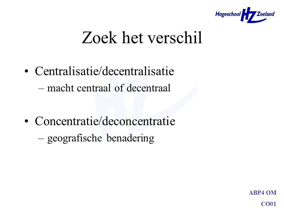 Zoek het verschil Centralisatie/decentralisatie