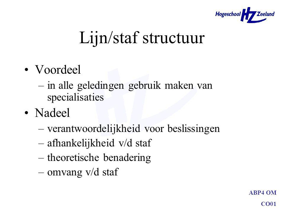 Lijn/staf structuur Voordeel Nadeel