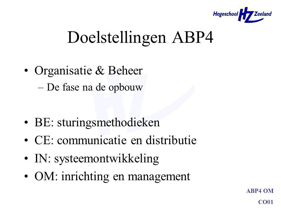 Doelstellingen ABP4 Organisatie & Beheer BE: sturingsmethodieken