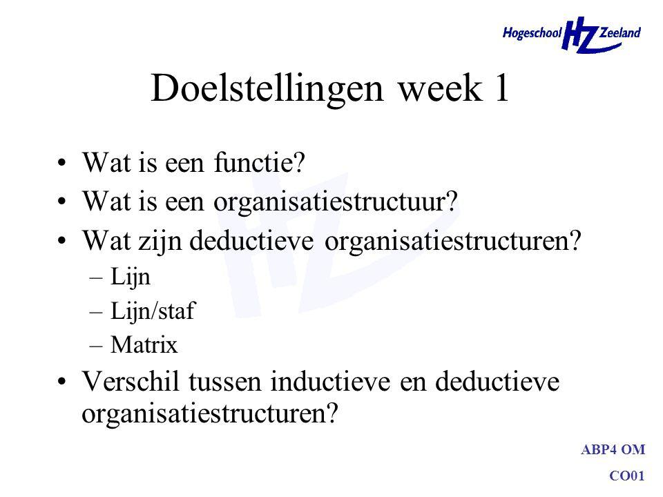 Doelstellingen week 1 Wat is een functie