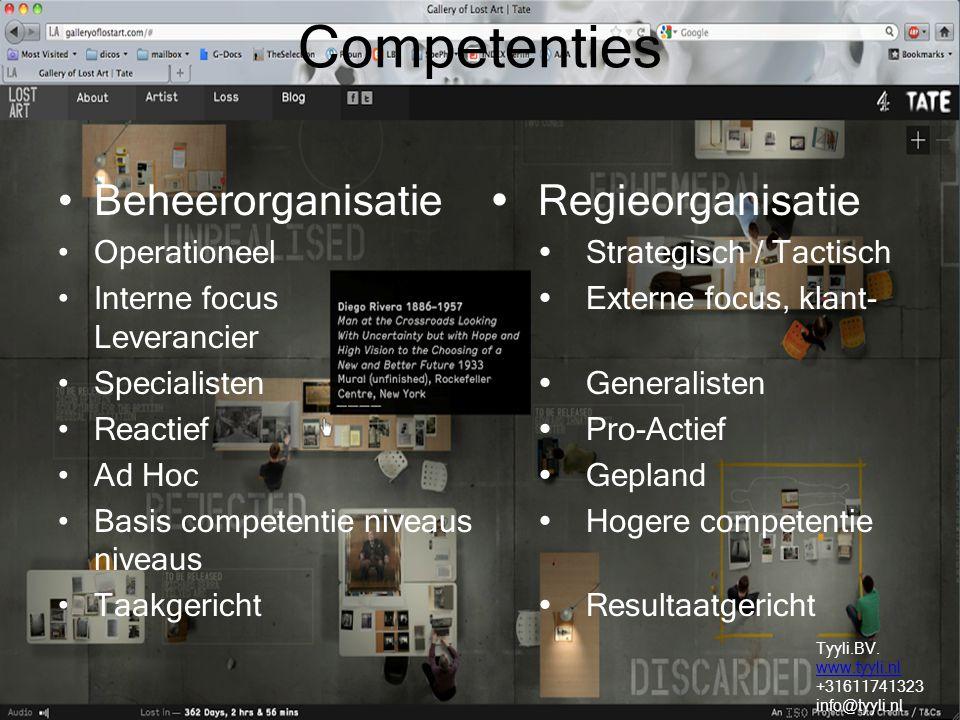 Competenties Beheerorganisatie  Regieorganisatie