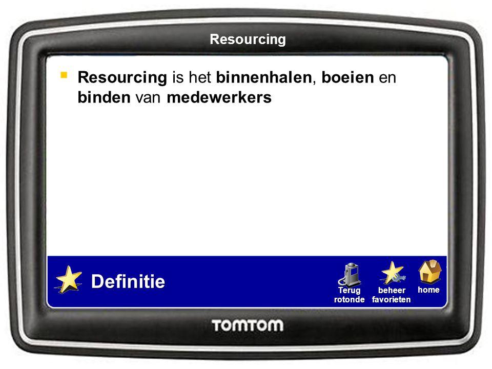 Resourcing Resourcing is het binnenhalen, boeien en binden van medewerkers Definitie