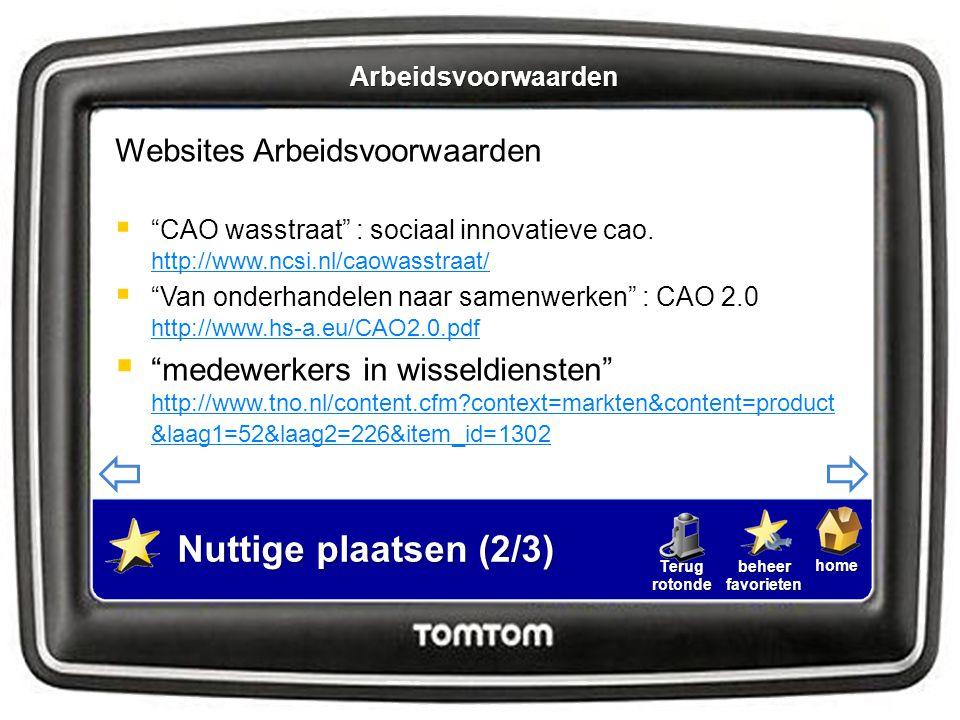 Nuttige plaatsen (2/3) Websites Arbeidsvoorwaarden