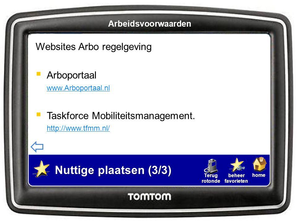 Nuttige plaatsen (3/3) Websites Arbo regelgeving