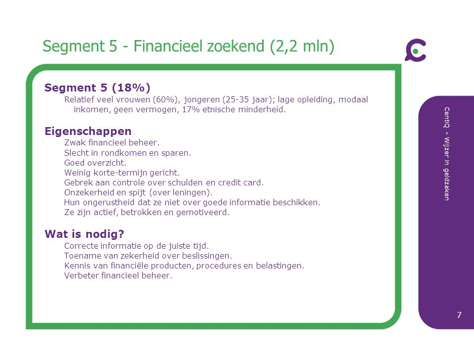 Segment 5 - Financieel zoekend (2,2 mln)